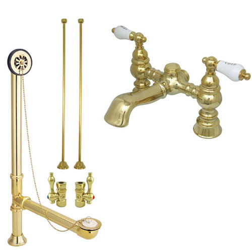 Polished Brass Deck Mount Clawfoot Tub Faucet Package w Drain Supplies Stops CC1132T2system