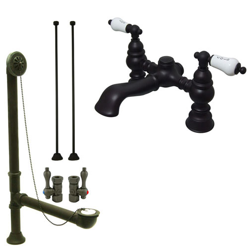 Oil Rubbed Bronze Deck Mount Clawfoot Tub Faucet Package w Drain Supplies Stops CC1132T5system