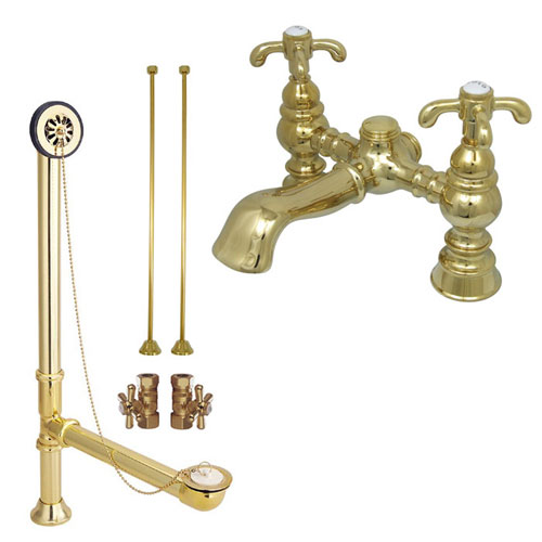 Polished Brass Deck Mount Clawfoot Tub Faucet Package w Drain Supplies Stops CC1134T2system