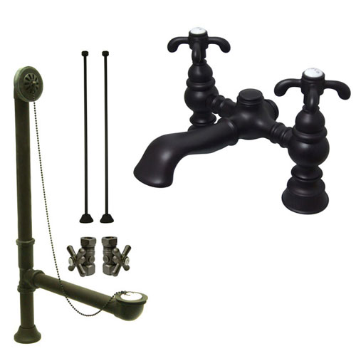 Oil Rubbed Bronze Deck Mount Clawfoot Tub Faucet Package w Drain Supplies Stops CC1134T5system