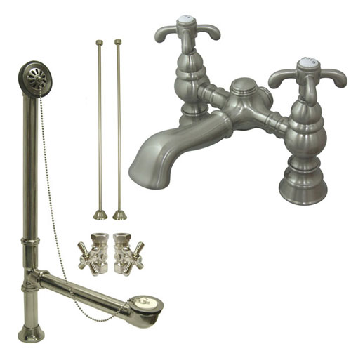 Satin Nickel Deck Mount Clawfoot Tub Faucet Package w Drain Supplies Stops CC1134T8system