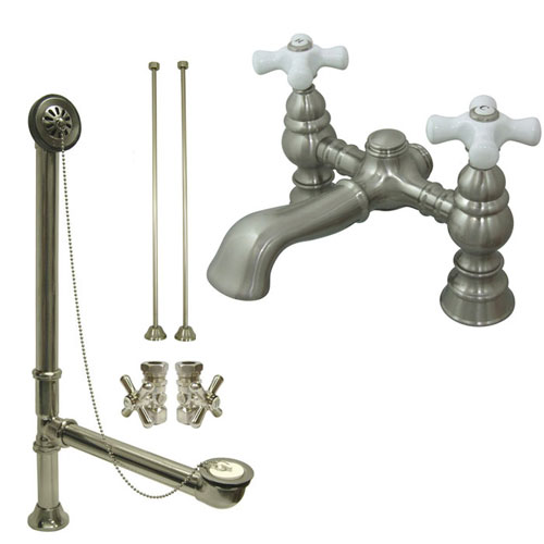 Satin Nickel Deck Mount Clawfoot Tub Faucet Package w Drain Supplies Stops CC1136T8system