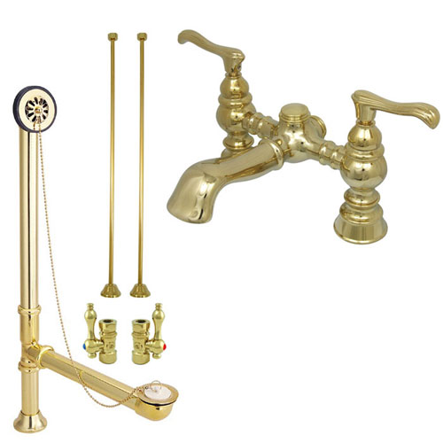 Polished Brass Deck Mount Clawfoot Tub Faucet Package w Drain Supplies Stops CC1138T2system