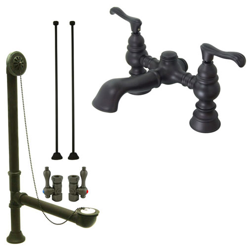 Oil Rubbed Bronze Deck Mount Clawfoot Tub Faucet Package w Drain Supplies Stops CC1138T5system