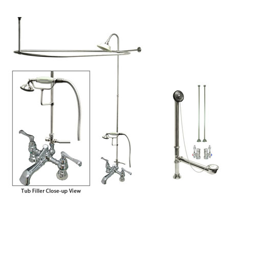 Chrome Clawfoot Tub Faucet Shower Kit with Enclosure Curtain Rod 1152T1CTS