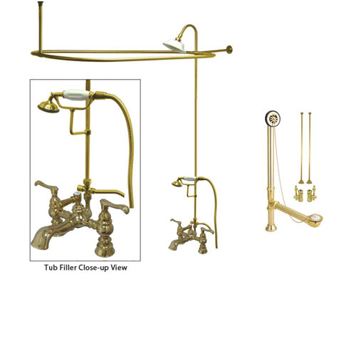 Polished Brass Clawfoot Tub Faucet Shower Kit with Enclosure Curtain Rod 1152T2CTS