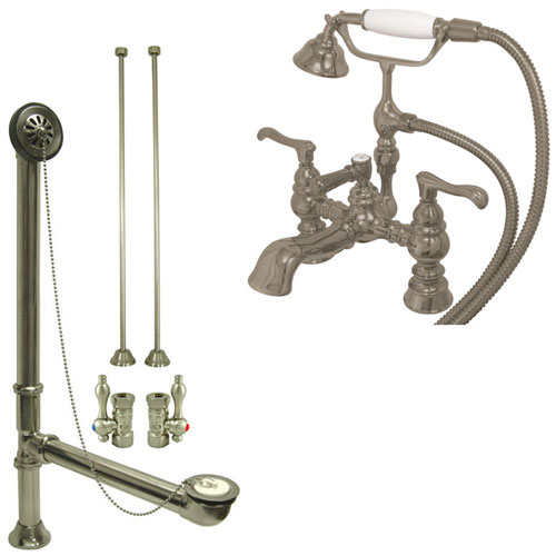 Satin Nickel Deck Mount Clawfoot Tub Faucet w hand shower w Drain Supplies Stops CC1152T8system