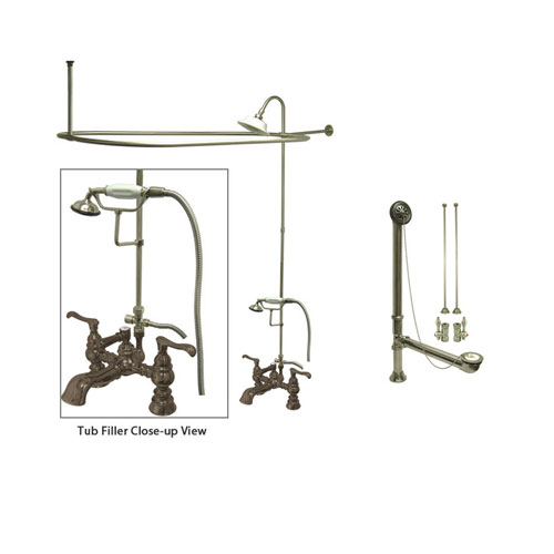 Satin Nickel Clawfoot Tub Faucet Shower Kit with Enclosure Curtain Rod 1152T8CTS