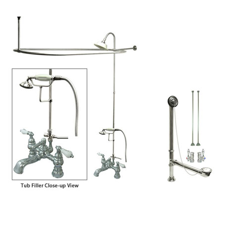 Chrome Clawfoot Tub Shower Faucet Kit with Enclosure Curtain Rod 1154T1CTS