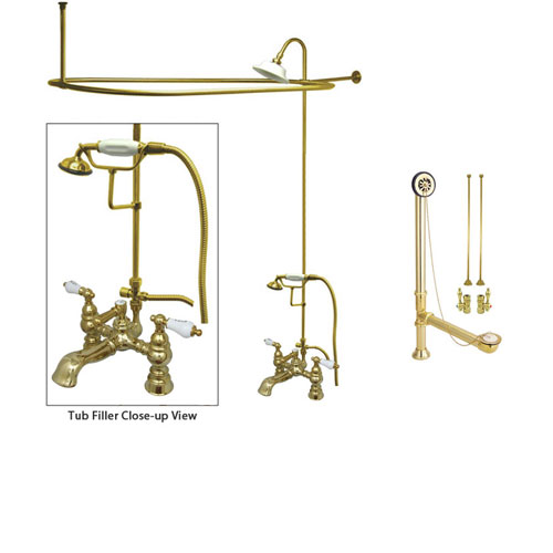 Polished Brass Clawfoot Tub Faucet Shower Kit with Enclosure Curtain Rod 1154T2CTS