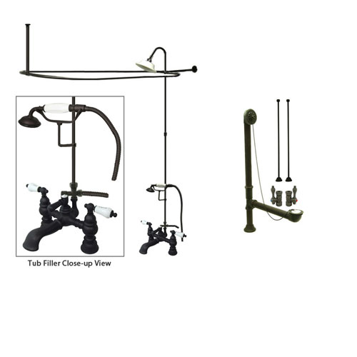 Oil Rubbed Bronze Clawfoot Tub Faucet Shower Kit with Enclosure Curtain Rod 1154T5CTS