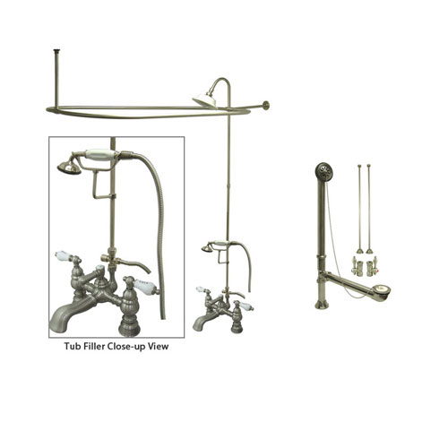 Satin Nickel Clawfoot Tub Faucet Shower Kit with Enclosure Curtain Rod 1154T8CTS