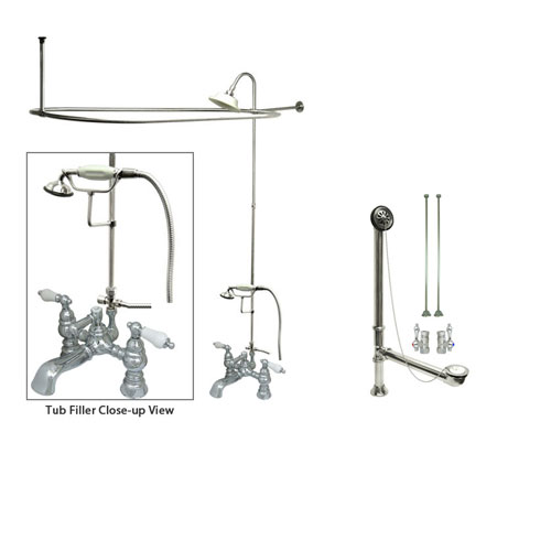 Chrome Clawfoot Tub Faucet Shower Kit with Enclosure Curtain Rod 1156T1CTS