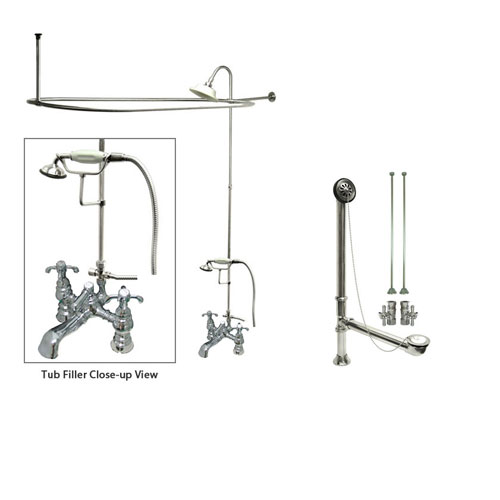 Chrome Clawfoot Tub Faucet Shower Kit with Enclosure Curtain Rod 1158T1CTS