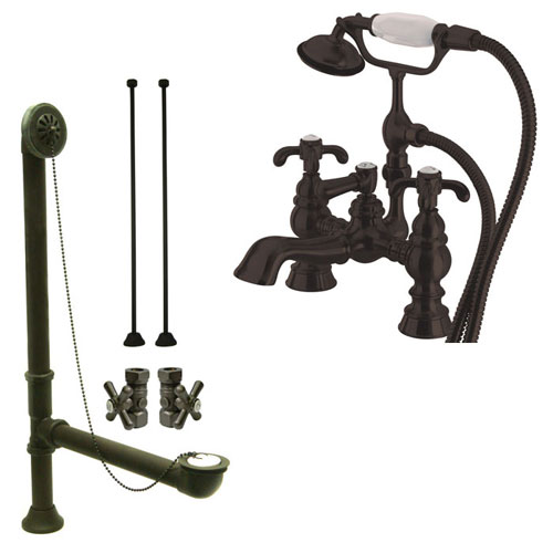 Oil Rubbed Bronze Deck Mount Clawfoot Tub Faucet w hand shower System Package CC1158T5system