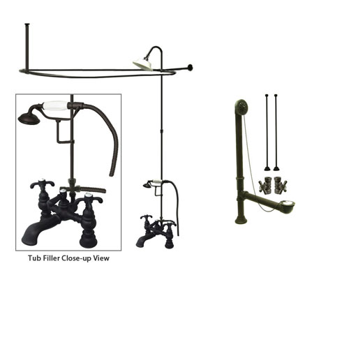 Oil Rubbed Bronze Clawfoot Tub Faucet Shower Kit with Enclosure Curtain Rod 1158T5CTS