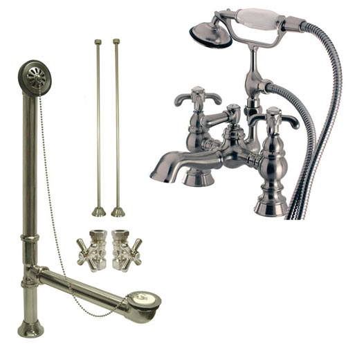 Satin Nickel Deck Mount Clawfoot Tub Faucet w hand shower w Drain Supplies Stops CC1158T8system