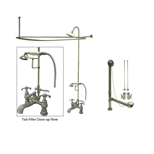 Satin Nickel Clawfoot Tub Faucet Shower Kit with Enclosure Curtain Rod 1158T8CTS