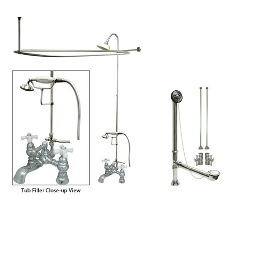 Chrome Clawfoot Tub Faucet Shower Kit with Enclosure Curtain Rod 1160T1CTS