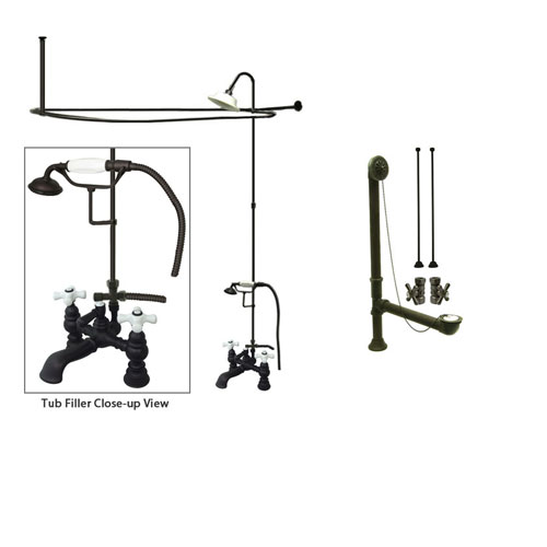 Oil Rubbed Bronze Faucet Clawfoot Tub Shower Kit with Enclosure Curtain Rod 1160T5CTS