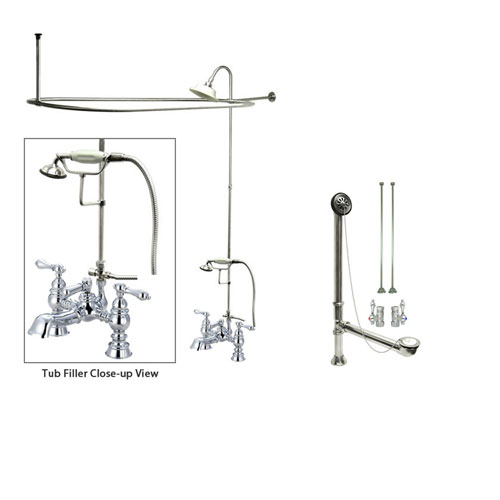 Chrome Clawfoot Tub Faucet Shower Kit with Enclosure Curtain Rod 1161T1CTS