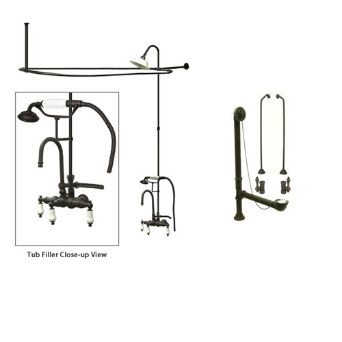 Oil Rubbed Bronze Clawfoot Tub Faucet Shower Kit with Enclosure Curtain Rod 11T5CTS