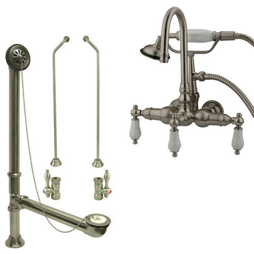 Satin Nickel Wall Mount Clawfoot Tub Faucet w hand shower w Drain Supplies Stops CC11T8system