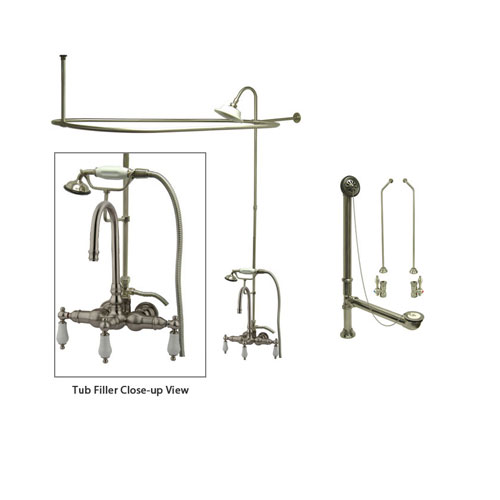 Satin Nickel Clawfoot Tub Faucet Shower Kit with Enclosure Curtain Rod 11T8CTS