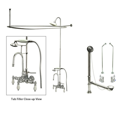 Chrome Clawfoot Tub Faucet Shower Kit with Enclosure Curtain Rod 12T1CTS