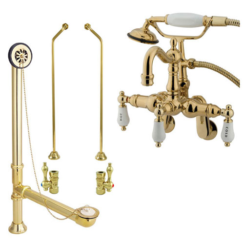Polished Brass Wall Mount Clawfoot Tub Faucet Package w Drain Supplies Stops CC1303T2system