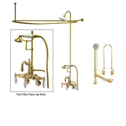 Polished Brass Clawfoot Tub Faucet Shower Kit with Enclosure Curtain Rod 1303T2CTS