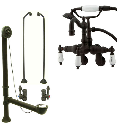 Oil Rubbed Bronze Wall Mount Clawfoot Tub Faucet Package w Drain Supplies Stops CC1303T5system