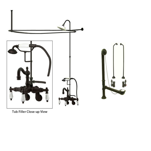 Oil Rubbed Bronze Clawfoot Tub Faucet Shower Kit with Enclosure Curtain Rod 1303T5CTS