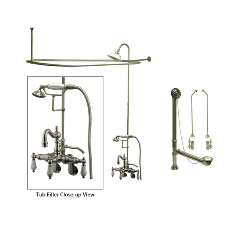 Satin Nickel Clawfoot Tub Faucet Shower Kit with Enclosure Curtain Rod 1303T8CTS