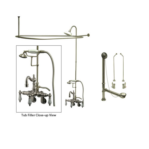 Satin Nickel Clawfoot Tub Faucet Shower Kit with Enclosure Curtain Rod 1305T8CTS