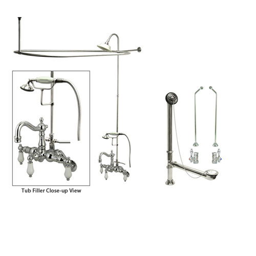 Chrome Clawfoot Tub Faucet Shower Kit with Enclosure Curtain Rod 1306T1CTS