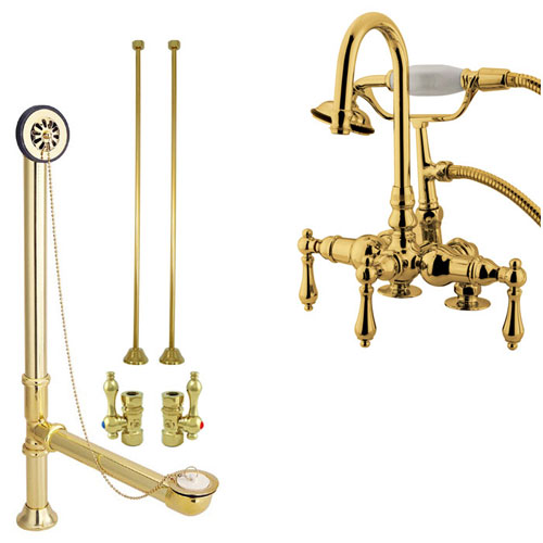 Polished Brass Deck Mount Clawfoot Tub Faucet w hand shower Drain Supplies Stops CC13T2system