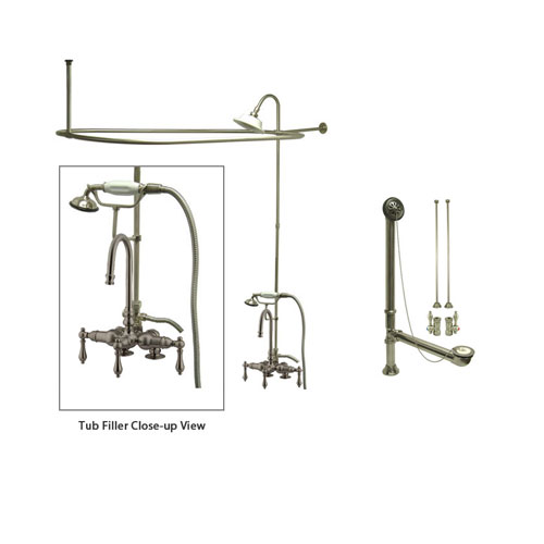 Satin Nickel Clawfoot Tub Faucet Shower Kit with Enclosure Curtain Rod 13T8CTS
