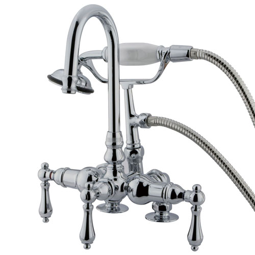Kingston Chrome Deck Mount Clawfoot Tub Filler Faucet with Hand Shower CC14T1