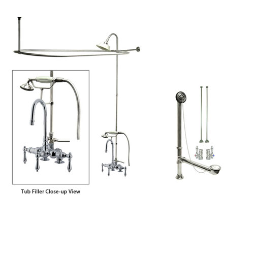 Chrome Clawfoot Tub Faucet Shower Kit with Enclosure Curtain Rod 14T1CTS