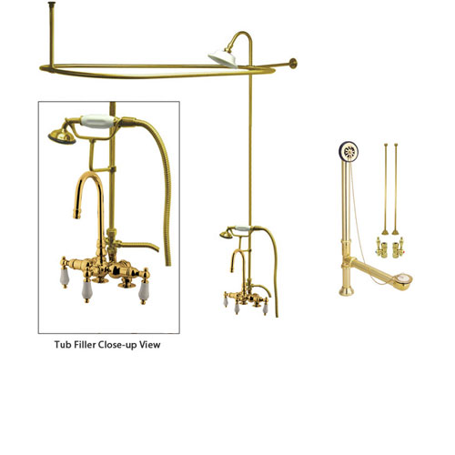 Polished Brass Clawfoot Bathtub Faucet Shower Kit with Enclosure Curtain Rod 15T2CTS