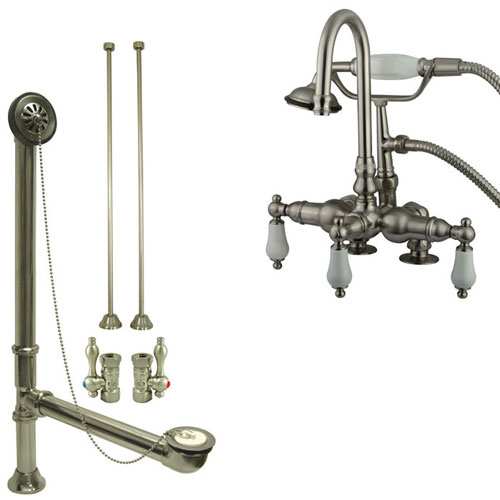Satin Nickel Deck Mount Clawfoot Tub Faucet w hand shower w Drain Supplies Stops CC15T8system