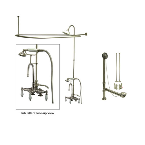 Satin Nickel Clawfoot Tub Faucet Shower Kit with Enclosure Curtain Rod 15T8CTS