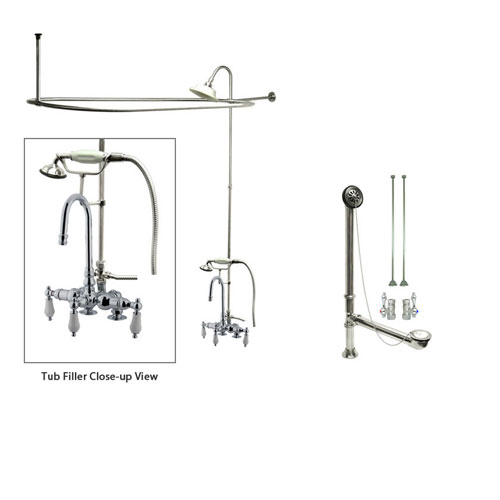 Chrome Clawfoot Tub Faucet Shower Kit with Enclosure Curtain Rod 16T1CTS