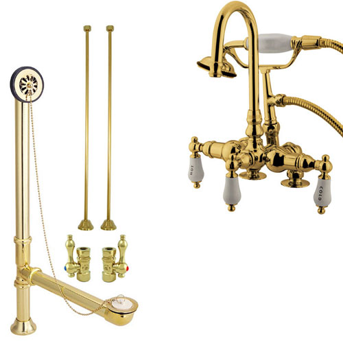Polished Brass Deck Mount Clawfoot Tub Faucet w hand shower Drain Supplies Stops CC17T2system