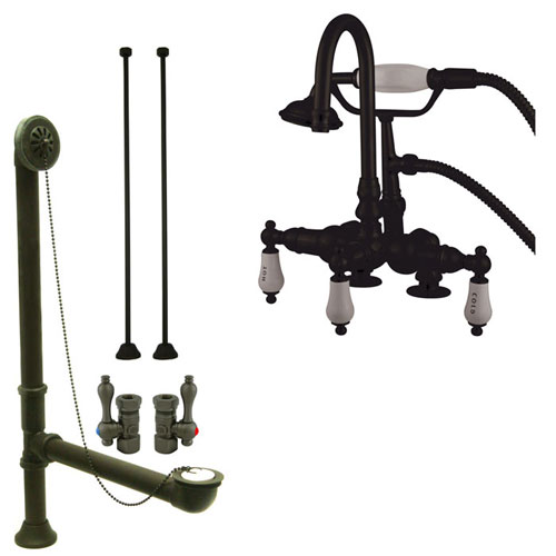 Oil Rubbed Bronze Deck Mount Clawfoot Tub Faucet w hand shower System Package CC17T5system