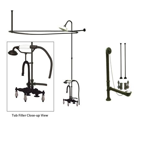 Oil Rubbed Bronze Clawfoot Tub Faucet Shower Kit with Enclosure Curtain Rod 17T5CTS