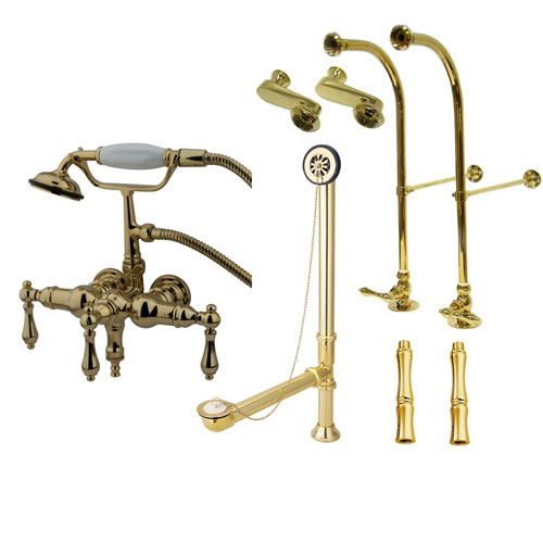 Freestanding Floor Mount Polished Brass Metal Lever Handle Clawfoot Tub Filler Faucet with Hand Shower Package 19T2FSP