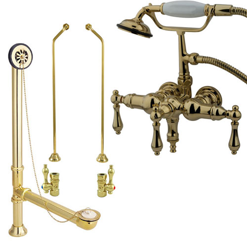 Polished Brass Wall Mount Clawfoot Tub Faucet Package w Drain Supplies Stops CC19T2system