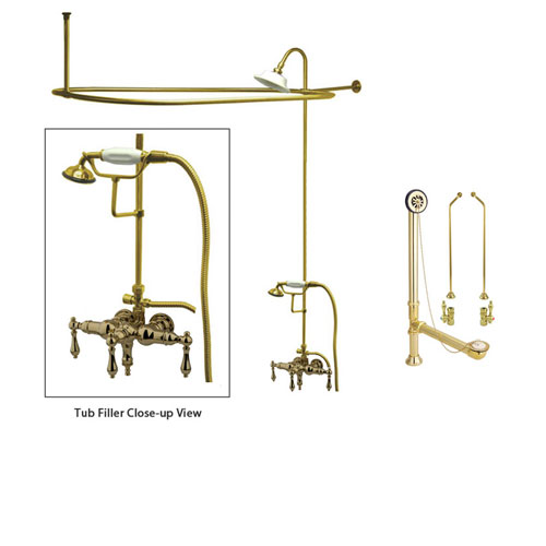 Polished Brass Clawfoot Tub Faucet Shower Kit with Enclosure Curtain Rod 19T2CTS